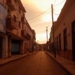 Straße bei Sonnenuntergang